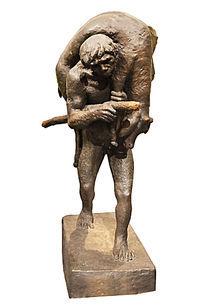 原始社会狩猎人物雕塑