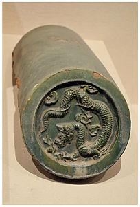 汉代绿釉龙纹瓦当