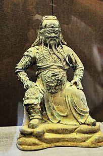 明代镀铜关公像