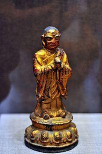 明代铜漆金迦叶尊者像