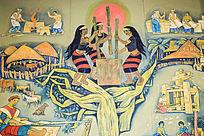 民族文化彩色壁画