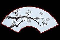 松树拼花扇面