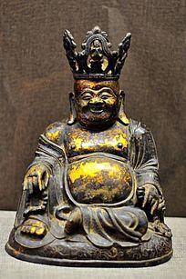 铜镀金大肚弥勒佛像