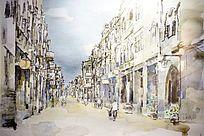 老街道水彩画