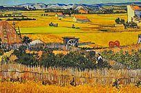 油画秋天的麦田