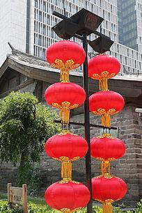 大红灯笼串节日背景