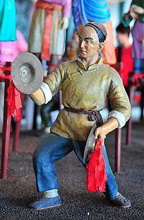 清代敲镲的人物泥塑像