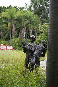 钢铁人物雕像消防人员演习