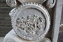 花朵花纹雕刻-圆形石雕