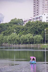 湖泊上的小游船游艇