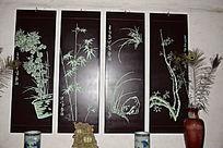 梅兰竹菊木版画