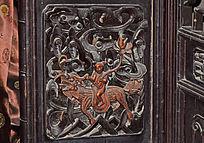 骑神兽的儿童木雕-人物木雕刻