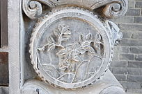 圆形花朵图案石雕-圆形石雕