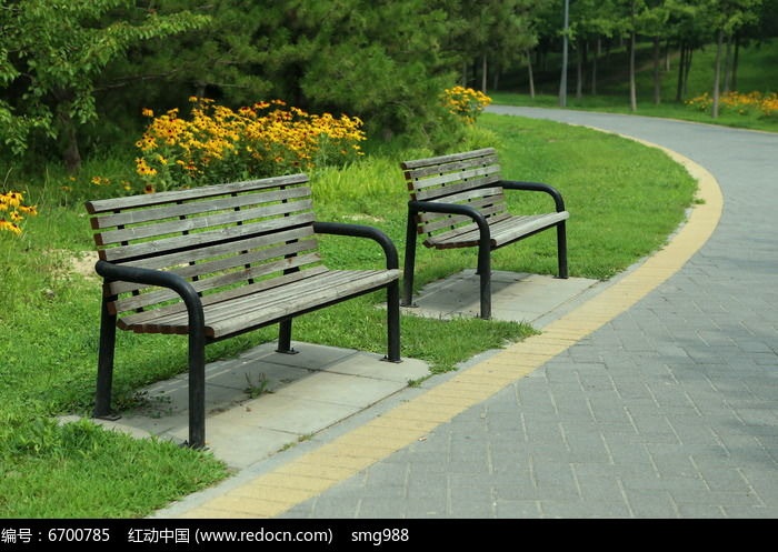 绿色森林公园的公共座椅图片,高清大图_园林景观素材