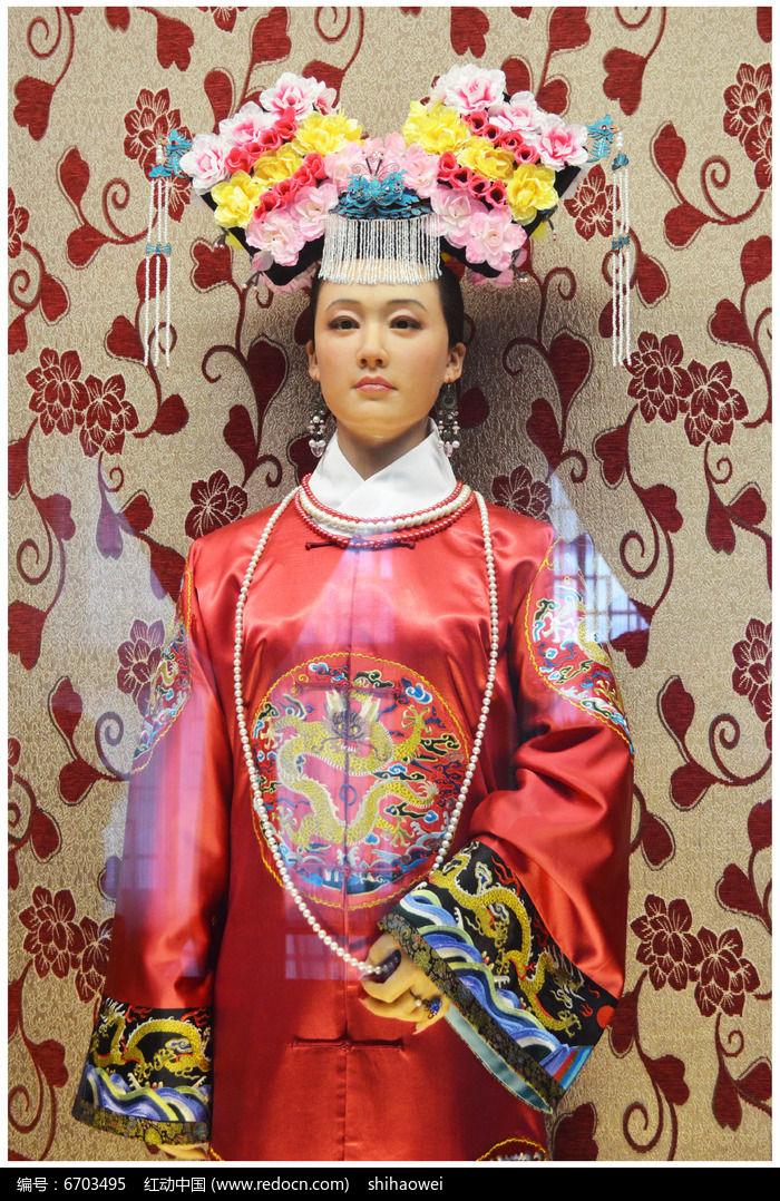 清代满族人物妃子塑像