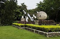 球状雕塑石球钢铁