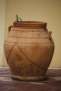 陶泥罐长形花纹大花盆