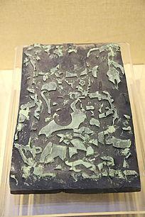 五子登科年画木雕板绿色