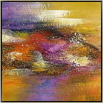 紫色抽象油画