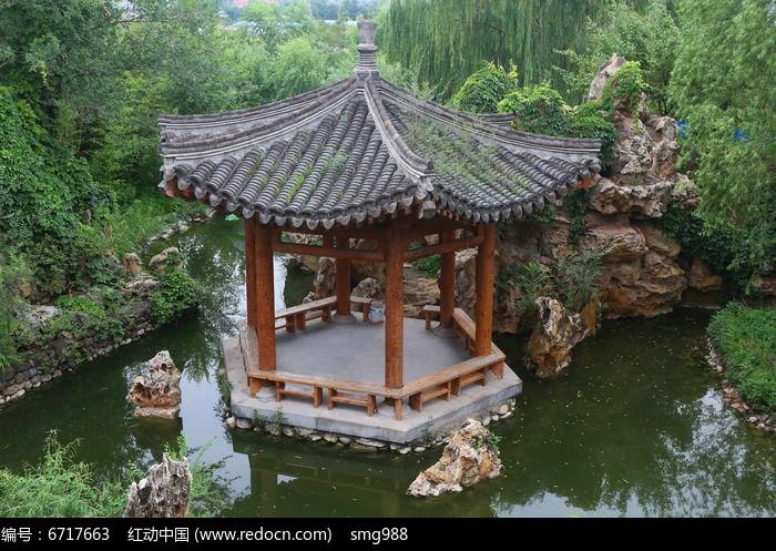 园林景观俯视池塘里的六角亭高清图片下载 编号6717663 红动网