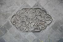 牡丹花卉纹砖雕背景墙