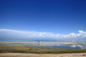 青海湖一望无边的湖水和美丽的蓝天白云