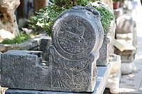 石雕麒麟图案古代门墩