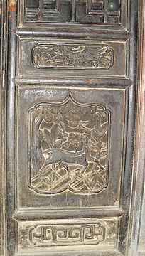 梅花鹿门板雕刻-木雕艺术