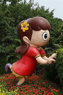 园林景观大眼睛的小姑娘卡通造型