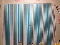 蓝白条纹电视背景墙