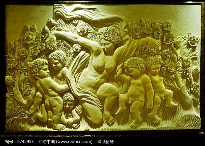 欧式浮雕壁画图片