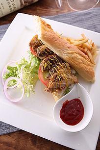 意式扒鸡三明治