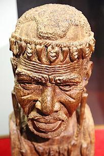木雕非洲老人头像