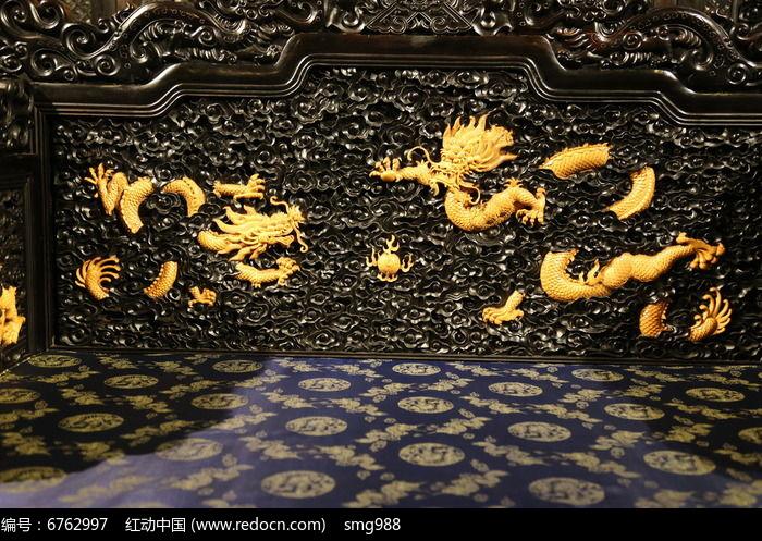 乌木嵌黄杨木雕云纹飞龙图片,高清大图_雕刻艺术素材