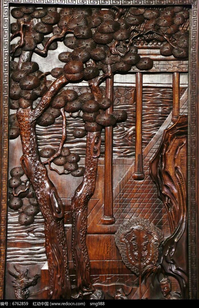 紫檀雕松树河景图案图片,高清大图_雕刻艺术素材