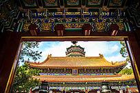 北京故宫房檐彩绘古建筑