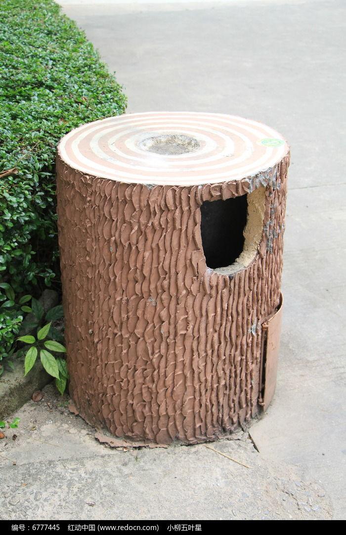 仿木桩垃圾桶图片