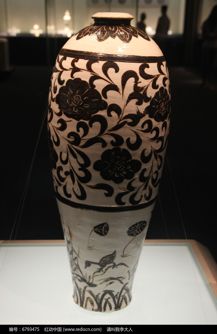 白釉黑彩牡丹芦雁图梅瓶