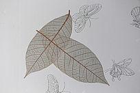 带有叶子的墙纸纹理