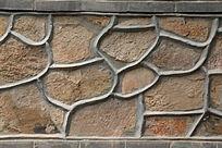 石墙水泥抹边背景墙