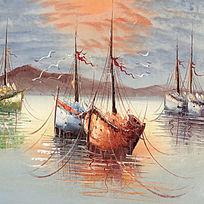 地中海油画帆船