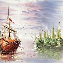 风景画帆船油画