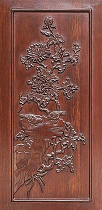 门板木雕菊花图