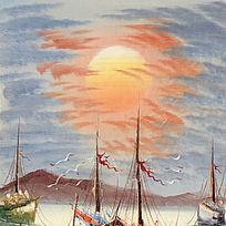 欧式风景油画海鸥