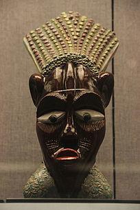 彩绘釉陶人面塑像
