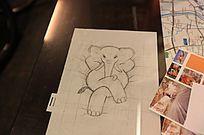 大象插画绘画设计稿