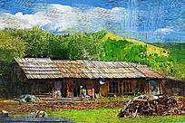电脑油画《乡村人家》