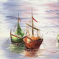 风景油画 港口 海景油画