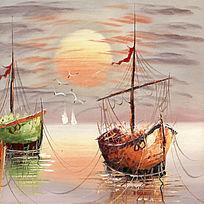 风景油画 港口 夕阳