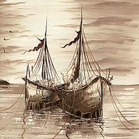复古油画风景画